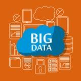 Big data cloud security file storage information server center. Vector illustration Royalty Free Stock Image