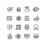 Big data cloud technology services thin line vector icons Stock Photography