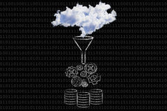 Big data: clouds being processed into servers Royalty Free Stock Photography