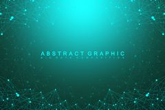 Big data complex. Graphic abstract background communication. Perspective backdrop of depth. Minimal array with compounds Stock Photography