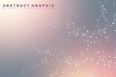 Big data complex. Graphic abstract background communication. Perspective backdrop of depth. Minimal array with compounds Royalty Free Stock Images