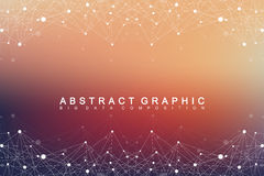 Big data complex. Graphic abstract background communication. Perspective backdrop of depth. Minimal array with compounds Stock Photo