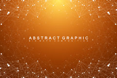 Big data complex. Graphic abstract background communication. Perspective backdrop of depth. Minimal array with compounds. Lines and dots. Digital data Stock Images