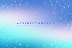 Big data complex. Graphic abstract background communication. Perspective backdrop of depth. Minimal array with compounds. Lines and dots. Digital data Stock Image