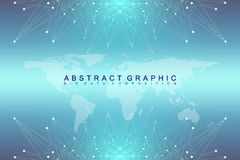 Big data complex. Graphic abstract background communication. Perspective backdrop with World Map. Minimal array with Stock Image