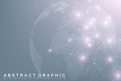 Big data complex world globe. Graphic abstract background communication. Perspective backdrop of depth. Virtual minimal Stock Image