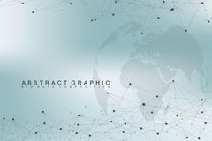 Big data complex world globe. Graphic abstract background communication. Perspective backdrop of depth. Virtual minimal. Array with compounds. Digital data Stock Photography