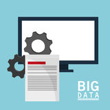 Big data comuter gears document. Vector illustration eps 10 Royalty Free Stock Image