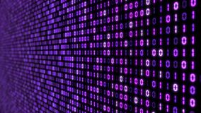 Big data concept with binary code. glowing digital numbers 3d illustration. Purple colored numbers with perspective view Royalty Free Stock Photos