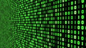 Big data concept with binary code. glowing digital numbers 3d illustration. Green colored numbers with perspective view Stock Image