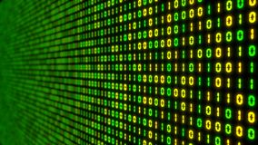Big data concept with binary code. glowing digital numbers 3d illustration. Green and yellow colored numbers with perspective view Royalty Free Stock Image