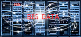 Big data concept on blurred data center room Royalty Free Stock Photo