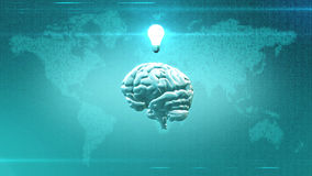 Big Data concept - Brain in front of Earth illustration with lightbulb. CGI rendered brain with light bulb abovein front of digital map of the Earth Royalty Free Stock Images