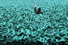 Big data concept, businessman was flooded with huge green characters. Big data concept, businessman was overwhelmed by huge amount of 3d green letters and royalty free stock image