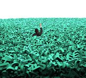 Big data concept, businessman was flooded with huge green characters. Big data concept, businessman was overwhelmed by huge amount of 3d green letters and royalty free illustration