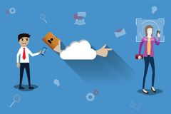 Big data concept,Cloud technology and big data used in marketing. Vector Illustration Royalty Free Stock Photography