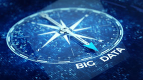 Big data concept - Compass needle pointing big data word. 3d rendering Stock Images
