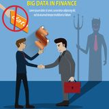 Big data concept, Do not use big data for analytics loaner,high. Risk - vector Illustration Royalty Free Stock Photo