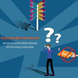 Big data concept, Do not use big data for planning,hard to decid. E the way - vector Illustration Royalty Free Stock Photos