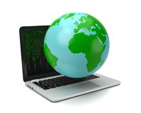 Big Data Concept. Earth Planet on Laptop Computer with Green Text Letters Code on the Screen on White Background 3D Illustration, Big Data Concept Stock Image