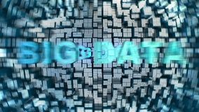 Big Data Concept. Fast moving Big Data words on a high technology background with motion effect, high resolution 3D render royalty free illustration