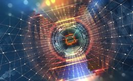 Big Data concept. Flow of digital data in global network. Quantum computer. Speed portal. Hadron Collider vector illustration