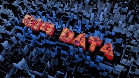 Big data concept. High resolution 3D render with words Big Data in a high technology surrounding Stock Photo