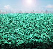 Big data concept, huge green characters, sunlight cityscapes royalty free illustration