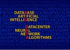 Big data, the concept of inscriptions. The image of the words. Text analysis. stock photo