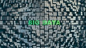 Big Data Concept. Large amount of fantasy high-tech objects and Big Data words, high resolution 3D render stock illustration