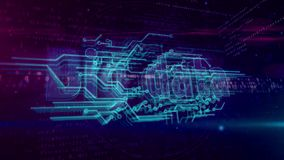 Big data concept loopable animation. Big data analytics and digital computing hologram. Technology abstract concept on binary background. Loopable and seamless stock illustration