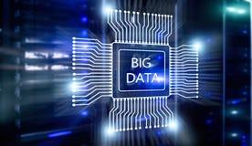 Big Data Concept on modern server room. Blue Technology Background.