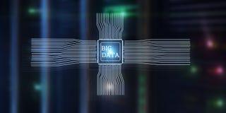 Big Data Concept on modern server room. Blue Technology Background.  vector illustration