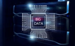 Big Data Concept on modern server room. Blue Technology Background.  stock illustration