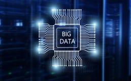 Big Data Concept on modern server room. Blue Technology Background.  royalty free stock images