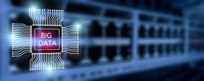 Big Data Concept on modern server room. Blue Technology Background.  royalty free stock photography