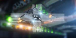 Big Data Concept on modern server room. Blue Technology Background.  royalty free stock image