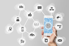 Big data concept in order to analyze large volume of data from connected mobile devices. Hand holding smart phone on white backgro. Und stock photo