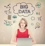 Big Data concept with young woman working on laptop Royalty Free Stock Photo