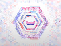 Big data connection structure. Abstract element with lines, dots and binary code. Big data visualization. Futuristic infographic vector illustration Stock Photography