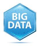 Big Data crystal blue hexagon button stock illustration