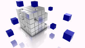 Big data cubes concept illustration silver and blue Stock Photography