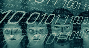 Big data cyber security, binary background. Mannequin heads and computer binary code Stock Images