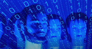 Big data cyber security. Mannequin heads and computer binary code Royalty Free Stock Photo