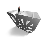 Big data 3D gray word with businessman standing on top. Big data 3D gray word with businessman standing on the top, isolated on white Royalty Free Stock Photos