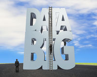 Big data 3D gray word wood ladder with business people Royalty Free Stock Image