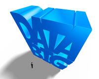 Big data 3D huge blue word with small businessman. High angle view Royalty Free Stock Photography