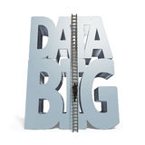 Big data 3D huge word with small businessman climbing ladder Royalty Free Stock Photography