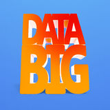 Big data 3D word with red orange color. Isolated on blue Royalty Free Stock Photo