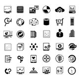 Big data and data analytics icons. Set of 36 big data and data analytics icons, web analytics icons Royalty Free Stock Photography